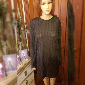 Zara Black Fringe Dress